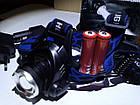 Фонарь Bailong BL-6699 Т6 Police Zoomналобный два аккумулятора 4,2В в комплекте, фото 6