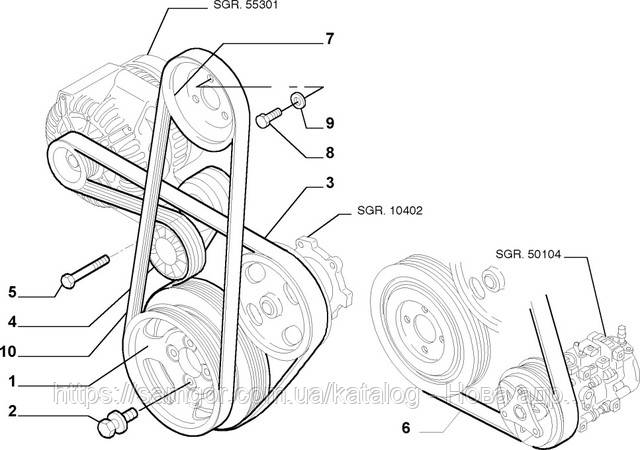 Ремень генератора Fiat Doblo 1.3 JTD Multijet (2004-2016