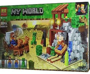 """Конструктор Minecraft BELA 11137 """"Погоня"""" Шахта Алекса, 303 деталей 2019 р."""