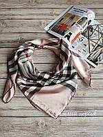 Шелковый платок в стиле Burberry светлый персиковый