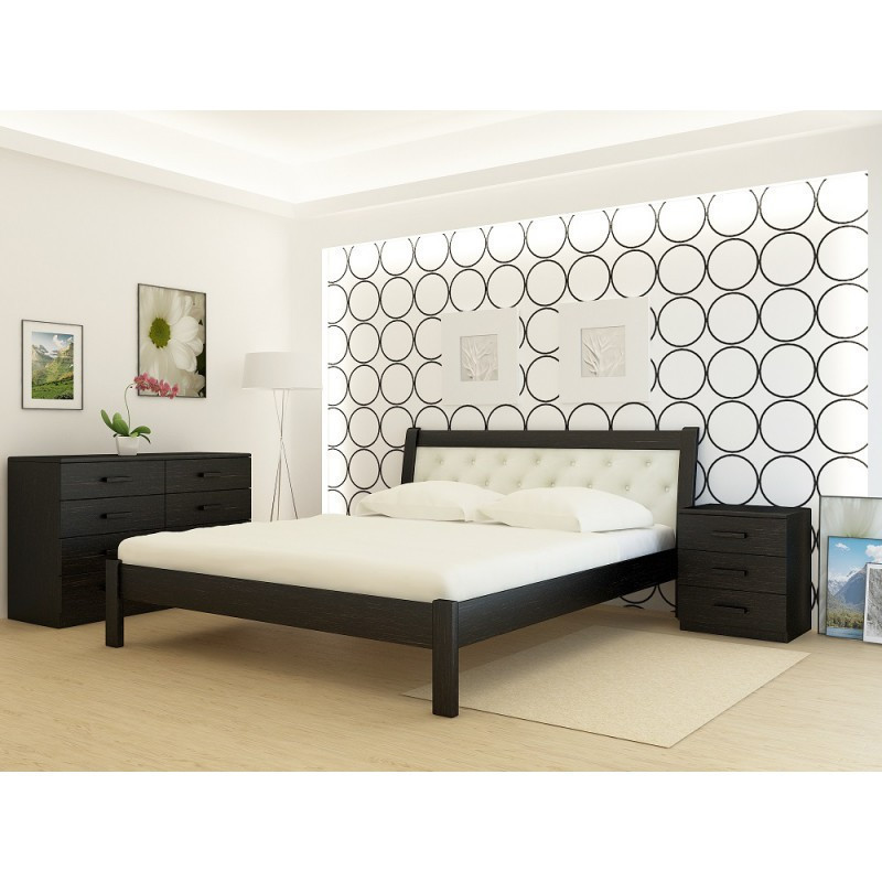 Кровать деревянная YASON Las Vegas Венге Вставка в изголовье Titan Vanil (Массив Ольхи либо Ясеня)