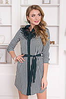 Модное платье рубашка короткое полуоблегающее рукав три четверти полоска зеленого цвета
