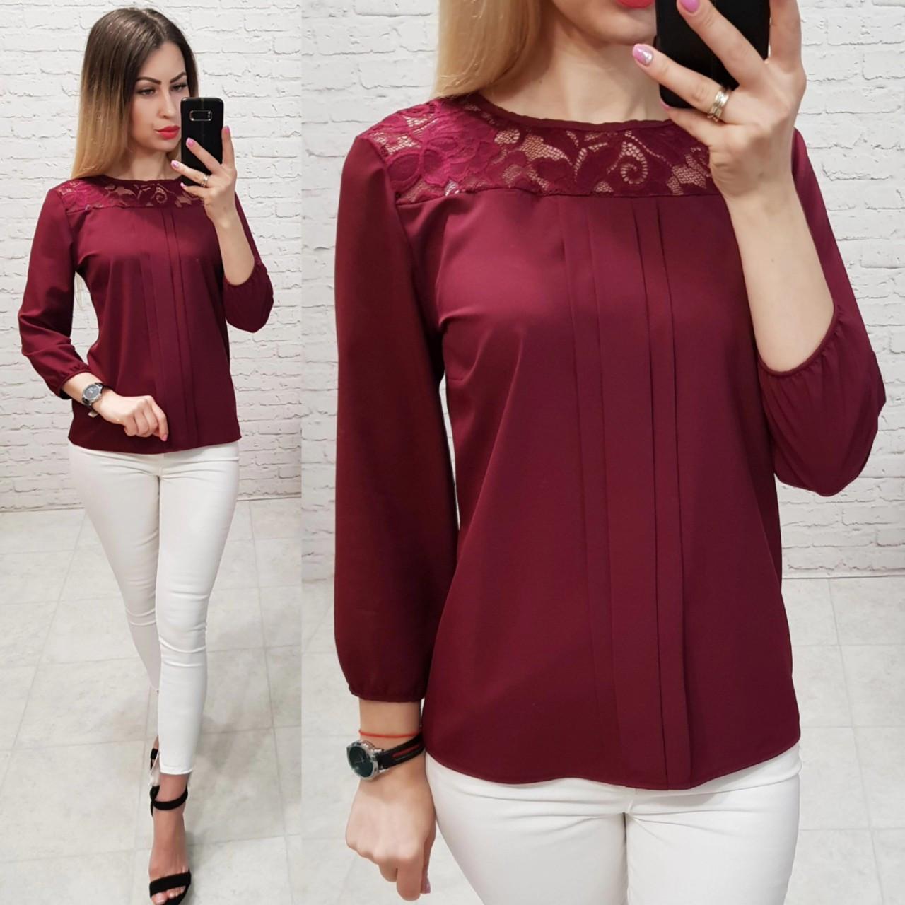 Блуза з мереживом арт. 793 бордо / марсала / вишневий
