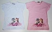 Белая футболка для девочек 116,128 роста Влюбленая пара