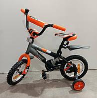 """Велосипед 12"""" дюймов 2-х колесный Azimut stitch, оранжевый, звоночек, катафоты, брызговики, доп.колеса"""