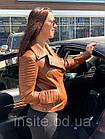 Куртка - Косуха Кожаная Женская Цвет Горчица 002ДЛ, фото 6