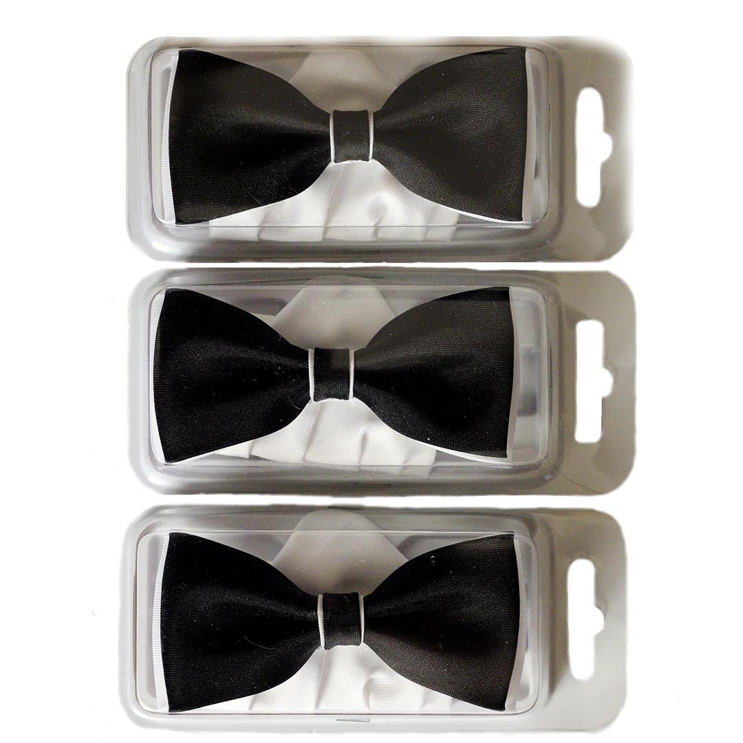 Краватки-метелики для хлопчиків Dunpillo чорні з білою хусткою в кишеню