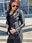 Куртка - Косуха Кожаная Женская Черная 0121КЖТ, фото 6