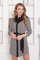 Деловое платье рубашка мини полуоблегающее рукав до локтя на спине прозрачная вставка полоска черное
