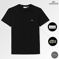 Чоловіча чорна міська/спортивна футболка з крокодилом лакост/Lacoste, фото 1