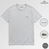 Светло-серая мужская футболка с крокодилом лакост/Lacoste, фото 1
