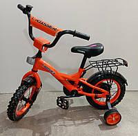 """Велосипед 12"""" дюймов 2-х колесный Crosser C7, оранжевый, багажник, звоночек, доп.колеса, катафоты"""