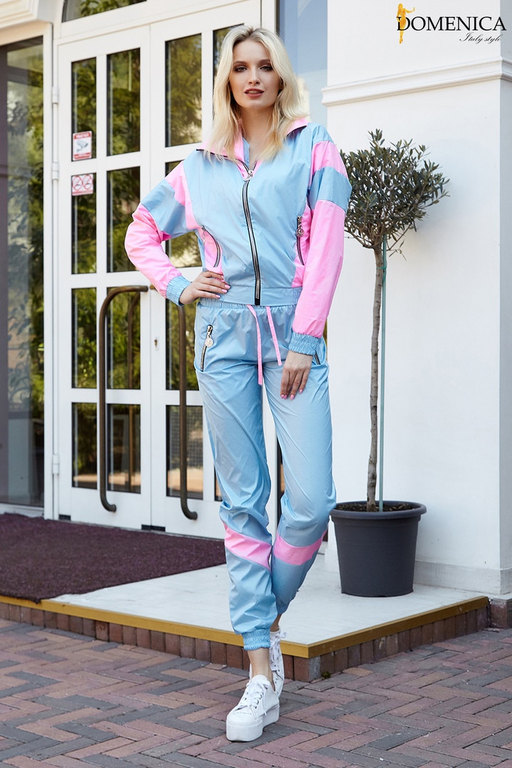 Трендовый спортивный костюм из плащевой ткани с яркими вставкам Размер: 42-44. Цвета разные (Р 2487)