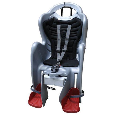 Детское кресло на велосипед  Bellelli Mr Fox Relax B-fix до 22кг, серебристое с чёрной подкладкой