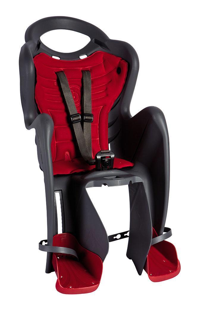 Детское кресло на велосипед  Bellelli Mr Fox Relax B-fix до 22кг, серое с красной подкладкой