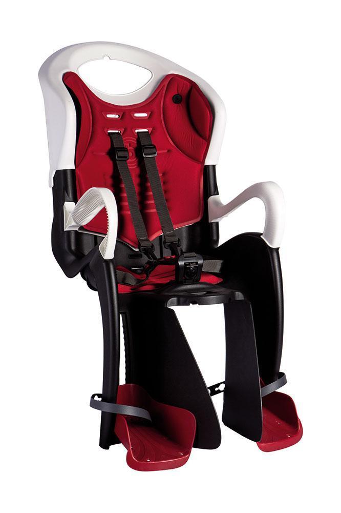 Сиденье задн. Bellelli Tiger Сlamp (на багажник) до 22кг, черно-белое с красной подкладкой