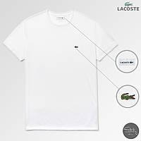 Белая хлопковая мужская футболка с крокодилом лакост/Lacoste, фото 1
