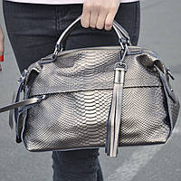 """Женская кожаная сумка-саквояж на длинной ручке  """"Аглая Bronze"""", фото 1"""