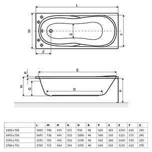Ванна Excellent Sekwana 1700x755 мм (WAEX.SEK17WH), фото 2