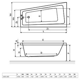 Ванна Excellent AVA Comfort 1500x805 мм, права (WAEX.AVP15WH), фото 2