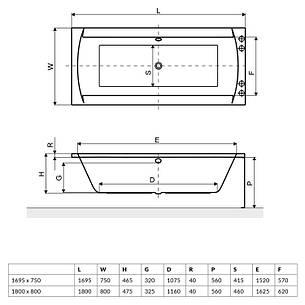 Ванна Excellent Crown ІІ 1800x800 мм (WAEX.CRO18WH), фото 2
