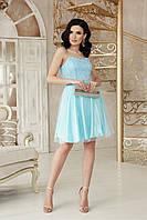 Коктейльное платье для выпускного вечера голубое