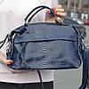 """Жіноча шкіряна сумка-саквояж на довгій ручці """"Аглая Blue"""""""