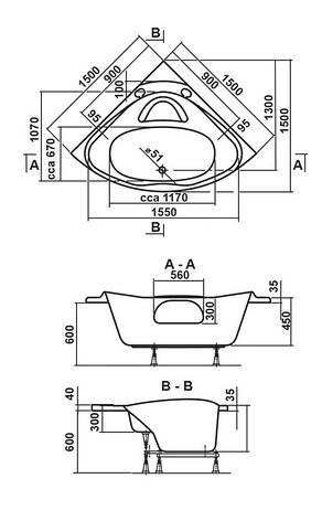 Ванна Vagnerplast Athena 150x150 см (VPBA150ATH3E-01), фото 2