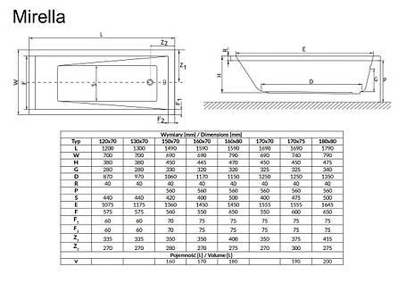 Ванна Radaway Kea 170x75 + ніжки (WA1-04-170x075U), фото 2