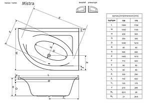 Ванна Radaway Mistra 150x100 R + ніжки (WA1-07-150x100P), фото 3