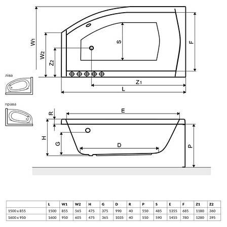 Ванна Radaway Sitera 160x95 L + ніжки (WA1-32-160×095L), фото 2