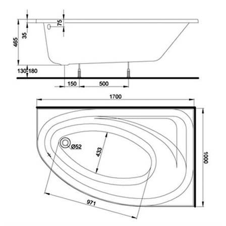 Ванна асиметрична Kolo Spring 170x100 см, права (XWA3070000), фото 2