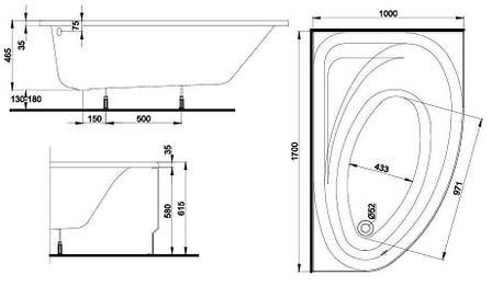 Ванна асиметрична Kolo Promise 170x110 см, ліва (XWA3271000), фото 2