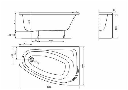 Ванна асиметрична Kolo Mystery 140x90 см, права (XWA3740000), фото 2