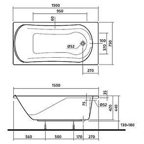 Ванна прямокутна Kolo Comfort 150x75 см (XWP3050000), фото 2