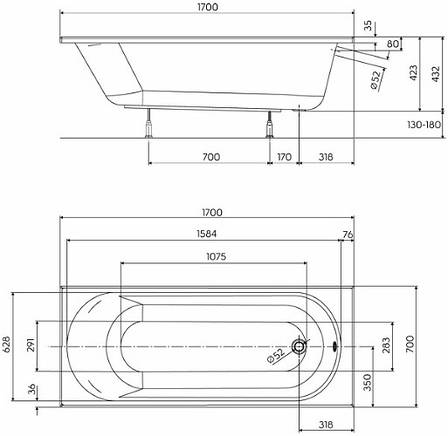 Ванна прямокутна Kolo Opal Plus 170x70 см (XWP357000N), фото 2
