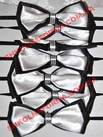 Краватки-метелики для хлопчиків чорно-білі подвійні