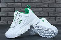 Кроссовки женские Fila Disruptor 2 бело-зеленые