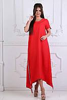 Женское длинное ассиметричное платье свободного кроя с лампасами S, M, L, XL