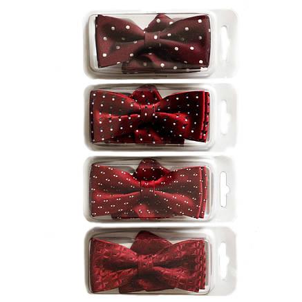 Галстуки-бабочки  для мальчиков Dunpillo бордовые с платком в карман, фото 2