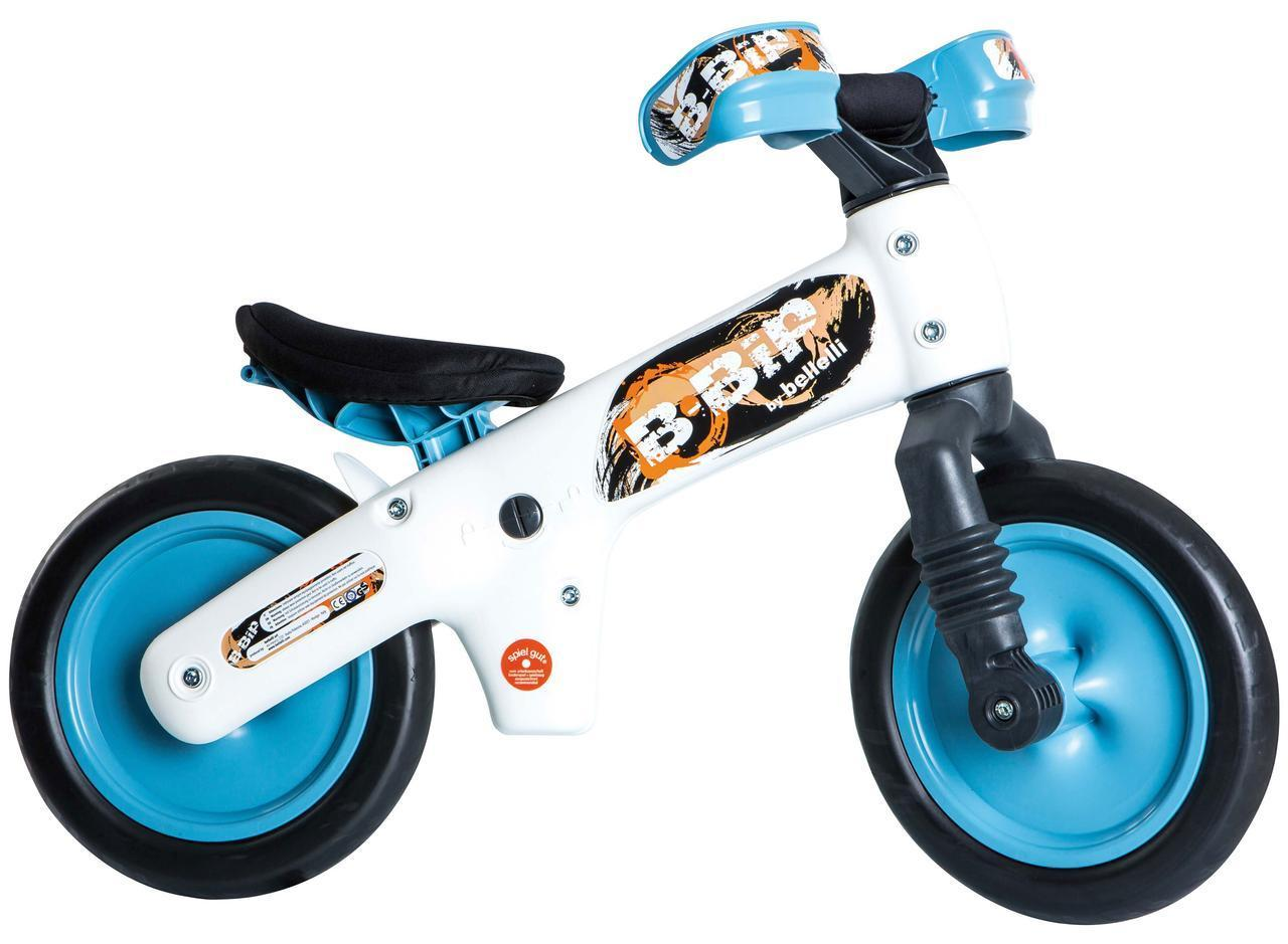 """Беговел 12"""" Bellelli B-Bip обучающий 2-5лет, пластмассовый, белый с голубыми колёсами"""