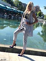 Модный женский брючный льняной костюм с жилеткой в полоску, фото 1