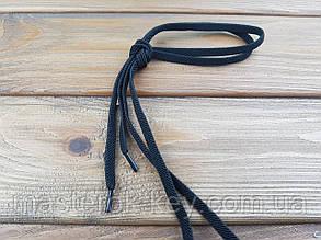 Шнурки резиновые обувные плоские 100см цвет черный