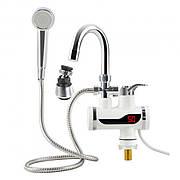 Проточный водонагреватель Delimano с душем и LCD экраном (с нижним подключением)