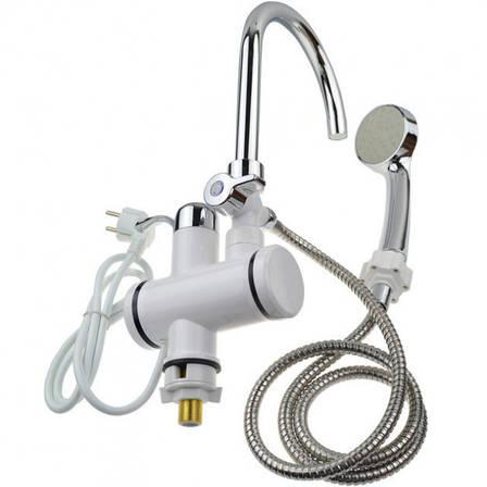 Проточный водонагреватель Delimano с душем и LCD экраном (с нижним подключением), фото 2