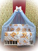 Набор в кроватку для новорожденных с балдахином (9 предметов). Оптом, фото 1
