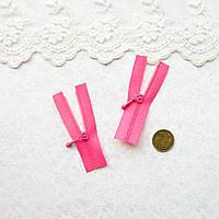 Молния микро для кукольной одежды, рюкзаков, сумок и обуви, 5 см - ярко-розовая