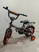 """Велосипед 12"""" дюймов 2-х колесный Crosser С7, черный, доп. колеса, багажник, звоночек, катафоты"""