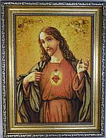 Икона с янтаря Иисус Христос Господь Вседержитель 20х30 см