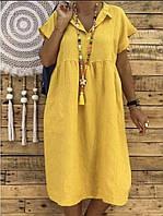 Летнее платье из белорусского льна, сиреневое, морская волна, голубое, малиновое желтое, др цвета, на выбор. , фото 1